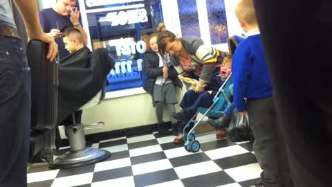 Kid Really Doesn't Want to Get a Haircut