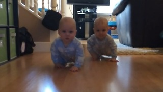 Adorable Twin Babies Race In the Hallway - Video