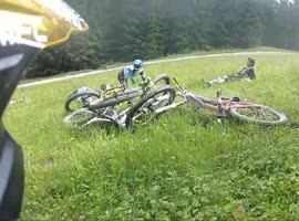 Downhill Biker Misses Turn - Video