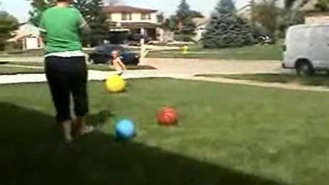 Little Girl vs Big Yellow Dodge Ball