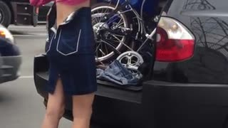 Babe dressed the way and go with the bike. - Video