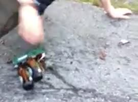 Why You Shouldn't Skate with a Case of Beer! - Video