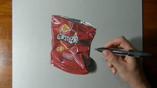Hyper Realistic Speed Drawing of Empty Chip Bag - Video