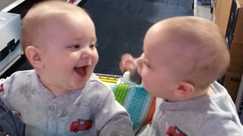 Twin Baby Brothers Enjoy a Moment