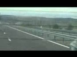Girl flying with over 100 km h into oncoming traffic on a highway