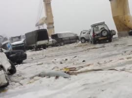 Ship With Cars in Heavy Storm - Video