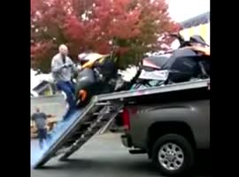 Snowmobile Loading Fail - Video