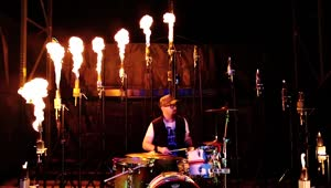 Drummer Literally Plays With Fire! - Video