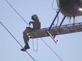 -Helicopter Crew Rescues Seagull from Power Lines-