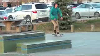 Cool skateboarding trick. - Video