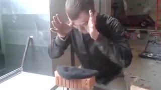 Russian breaks bricks with head! - Video