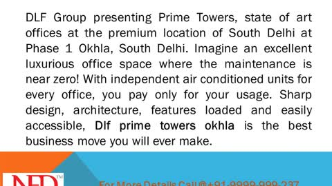 DLF prime towers fully approved commercial project at okhla phase-1
