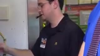 McDonald's Worker Sounds Like a Recording - Video