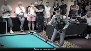 Trick Shot Artist Performs In Vegas Pool Hall - Video