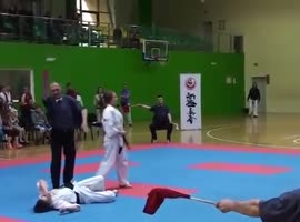 Karate Girl Lands Surprise Knockout