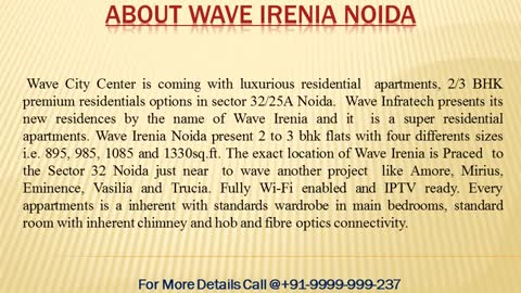 Wave Irenia by Wave Infratech at Wave City Centre Sector 32 Noida