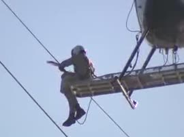 _Helicopter Crew Rescues Seagull from Power Lines_