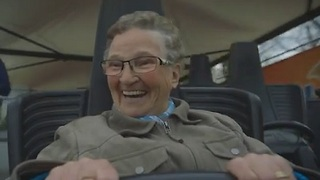 Grandma Rides Roller Coaster For the First Time - Video