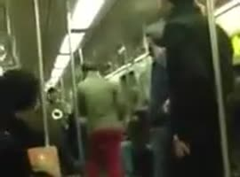 Saxophone battle in the subway