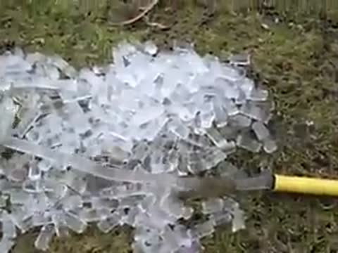 Icecubes with a garden hose