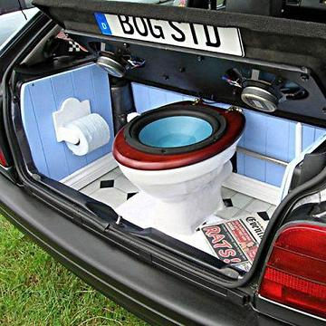toilet in the car pjpp rumble. Black Bedroom Furniture Sets. Home Design Ideas