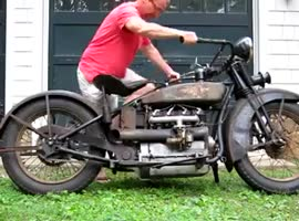 working antique motorcycle - Video