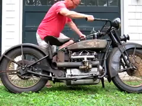 working antique motorcycle
