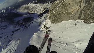 Paraglide Skiing In the French Alps