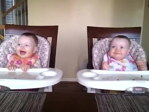 Two Cute Twins Dancing To Dad's Guitar