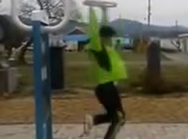 Skinny Korean Man Spins Really Fast - Video