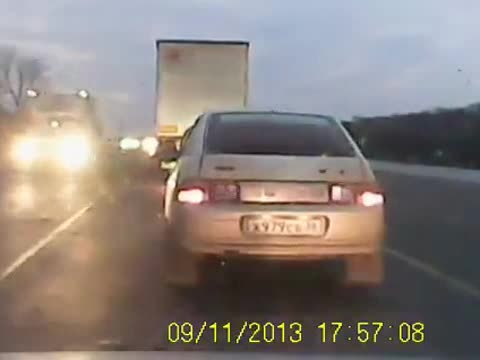INSTANT KARMA FOR DRIVER WHO TRIES TO SNEAK