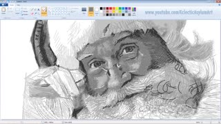 Vintage Microsoft Paint Art - Santa Claus Speed Painting - Video