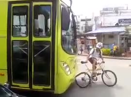 Cyclist Shouldn't Have Messed with Bus! - Video