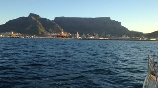 Approaching Table Mountain filmed from the ocean. - Video