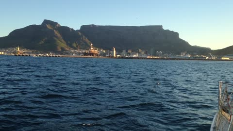 Approaching Table Mountain filmed from the ocean.