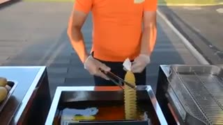 Fried Potato on The Stick - Video