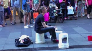 Incredibly Fast Street Drummer In Sydney - Video