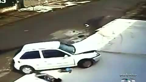 Kid escapes unharmed after being run over by a car