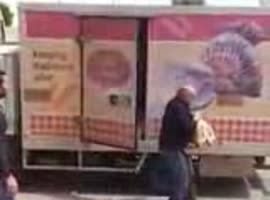 Guy Scares Delivery Truck Driver - Video