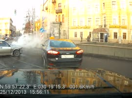 Car Crashes After Losing Hood - Video