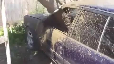 Flooded with concrete car
