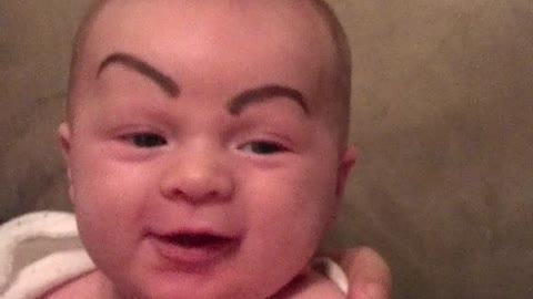 Baby With Drawn On Eyebrows Will Instantly Make You Smile