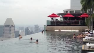 View from Singapore's famous rooftop pool - Video