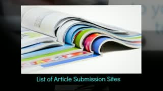 Article Directory Websites - Video