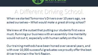 Tomorrow's Drivers Driving Schools in Markham - Video