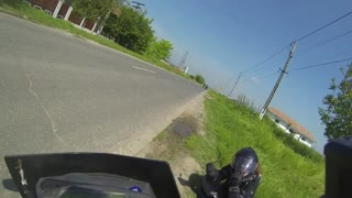Near miss accident (motorcycle girl vs horse) - Video