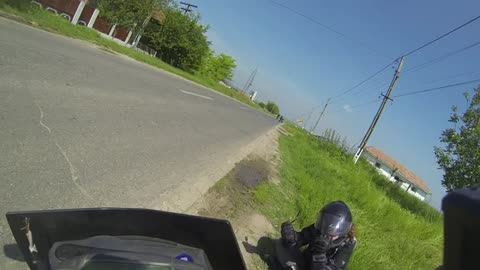 Near miss accident (motorcycle girl vs horse)