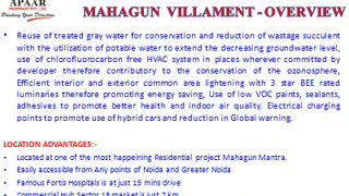 Mahagun Villaments Noida Extension @9560535989 No EMI till Possession - Video