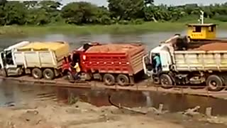 What happens when you upload a small truck loaded ferry - Video