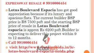 3c lotus boulevard espacia noida 9910006454, resale lotus boulevard espacia - Video
